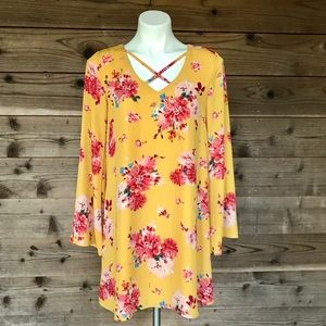 A.U.W Mustard Floral Long-sleeve Dress Sm